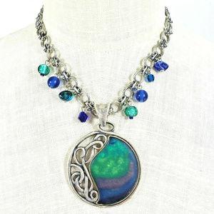 Chico's Antique Silver Tone Necklace Green Pendant